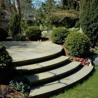 Curved steps leading to circular patio, Seattle