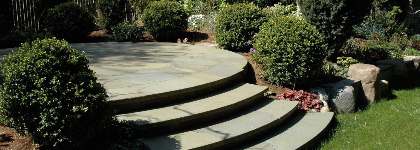 Magnolia garden, curved steps and patio
