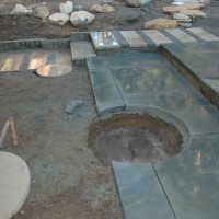 Constructing a patio with water feature, Bainbridge Island