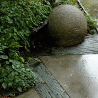 Attention to detail: Repurposed slate on edge with concrete at the Dunn Garden, Seattle